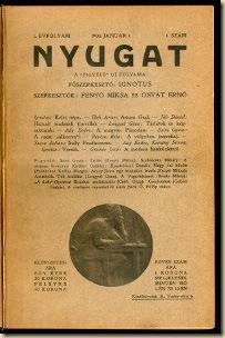 A NYUGAT LEGELSŐ SZÁMÁNAK CÍMLAPJA BABITS MIHÁLY KÖNYVTÁRÁBÓL I. évfolyam, 1. kötet (1–15. szám), 1908. – Országos Széchényi Könyvtár / Kézirattár