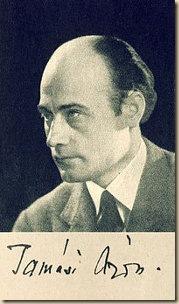 Tamási Áron arcképe és aláírása 1935-ből