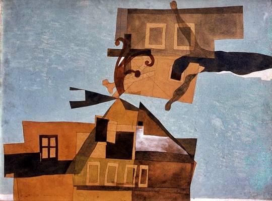 Vajda Lajos: Szentendrei házak feszülettel