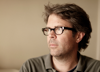 Writer Jonathan Franzen in his New York's apartment