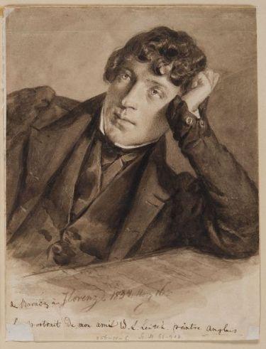 William Leighton skót akvarelfestő arcképe