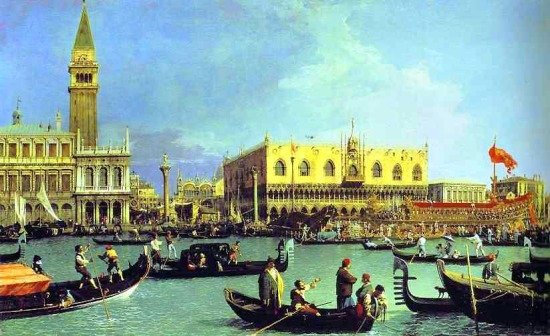Canaletto: A Bucintoro a mólónál Ascension napon