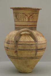 Magas nyakú, szélesszájú, kihajló peremű amphora.