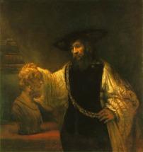 Aristotelés Homéros mellszobrával - Rembrandt