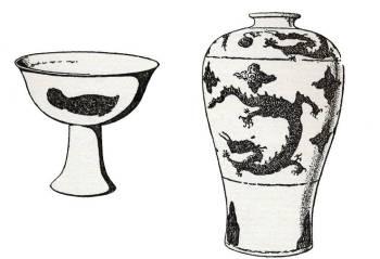 Talpas csésze hal díszítéssel | Szilvavirág alakú váza sárkányos díszítéssel
