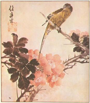 Ren Bainian után - Madár-virág kép