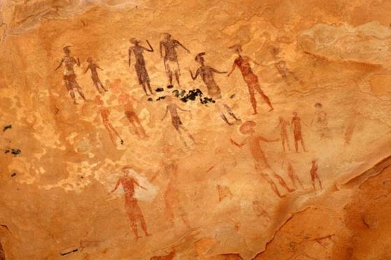 Famous prehistoric rock paintings of Tassili N Ajjer, Algeria