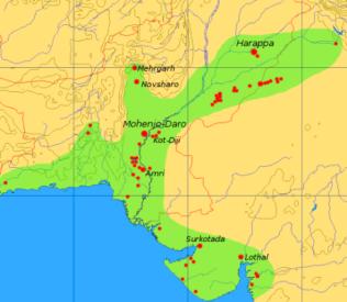 Harappa Civilization Map, Indus Valley