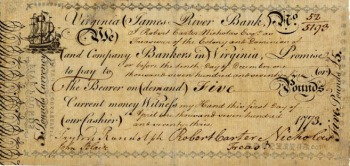 Virginian banknote from 1755