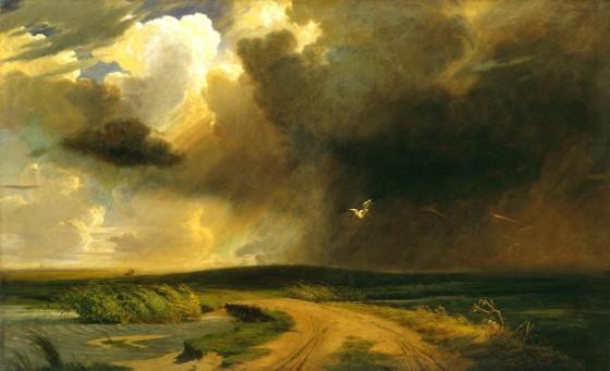 Lotz Károly: Zivatar a pusztán. 1861