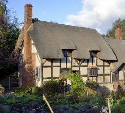 View of Anne Hathaway's Cottage in Shottery near Stratford upon Avon