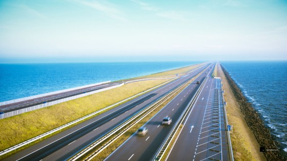 The 32km long Afsluitdijk causeway between Den Oever and Zurich, Holland. Part of personal project The Netherlands.