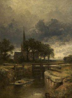 Stratford-on-Avon Church and Lock, 1883, Benjamin Williams Leader