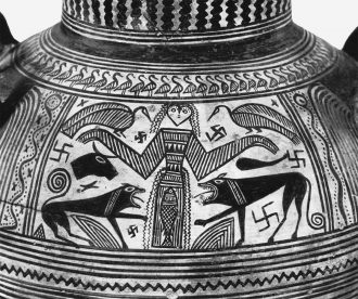 Artemis as Mistress of Beasts (Potnia Theron); from a Boeotian vase