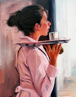 Parisian waitress in the cafe