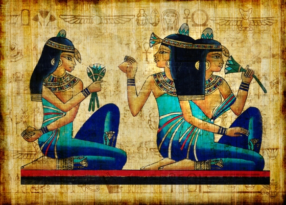 egyptian papyrus -Three Girls Holding A Lotus Flower.