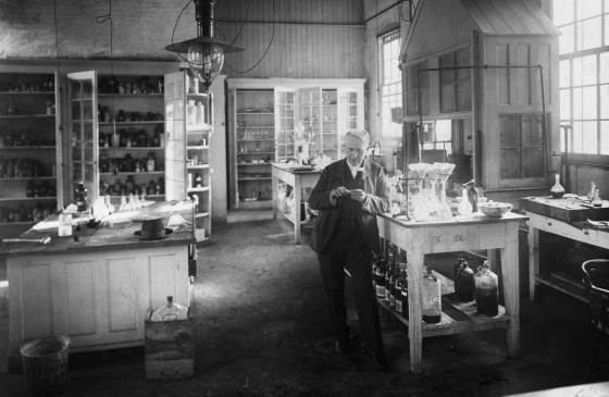 Portrait of Thomas Edison in his chemical laboratory in Menlo Park, N.J.