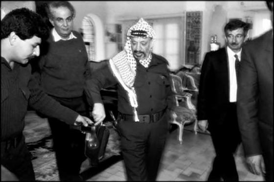 Yasser Arafat at the PLO headquarters