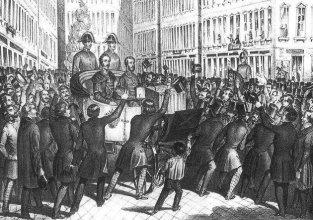 István főherceg nádor és Kossuth Lajos megérkezése Bécsbe, 1848. március 15.