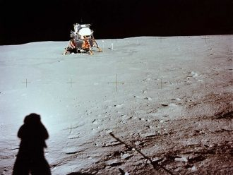 Armstrong's shadow on the Moon