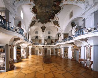 The former Benedictine abbey with its baroque church, ceremonial hall, and Rococo Library is one of the most magnificent testaments of baroque architecture in the whole of Southern Germany