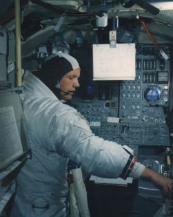 Armstrong in the space cab simulator on June 19, 1969