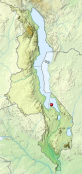 Malawi relief location map