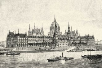 Hungarian Parliament Building in 1900