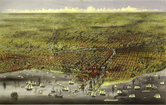 Chicago in 1874 from a bird's eye view