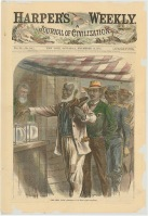 Harper's Weekly front page, men vote in Virginia
