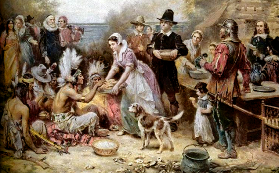 The first Thanksgiving in a painting by Jean Louis Gerome Ferris