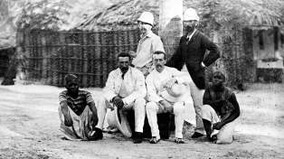A group of consuls and explorers in East Africa. This photograph (Neg. 143) is from the Harris lantern slide collection. The photographs of Alice Seeley Harris and her husband John Harris constituted part of what was probably the first orchestrated multimedia campaign against widespread human rights abuses.