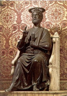 Statue of the apostle Peter in the Roman church of St. Peter