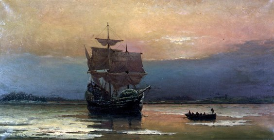 Mayflower in Plimouth Halsallrbor by William Hal