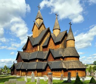Heddal is the largest wooden church in Notodden, Norway