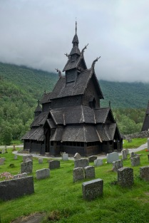 Medieval wooden church in Borgund, Norway