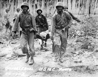 Guadalcanal, wounded, 1942