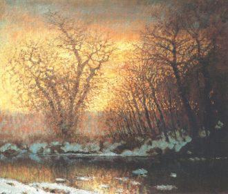 László Mednyánszky: Snow melting 1896-99