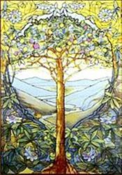 Tiffany: The tree of life, stained glass window