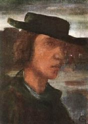 Lajos Gulácsy: Self-portrait with a hat