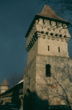 Medieval city wall with towers in Sibiu