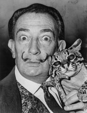 Salvador Dali with an ocelot (1965)