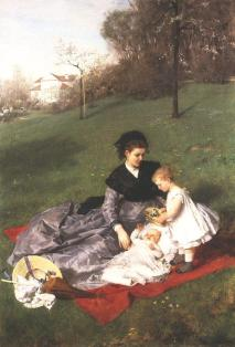 Picture: Pál Szinyei Merse: Mother and Children (1868-69, Oil on canvas, 137 x 94 cm, Private Property, New York