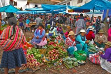 Quechua Women Sell Produce at the Pisac Market in the Sacred Valley, Peru