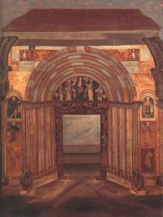 An 18th century oil painting of the western gate of the Esztergom Cathedral, built at the end of the 12th century, the so-called