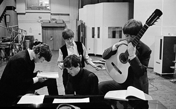 The Beatles Study the screenplay for The Night of a Hard Day in 1964 on Abbey Road
