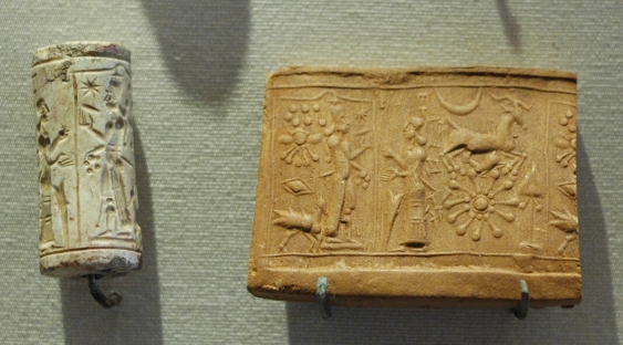 In the scene of a cylinder seal, the sun god Samas is worshiped