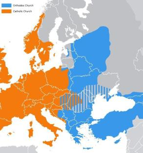 Map of Europe in 1054 after the great church split,