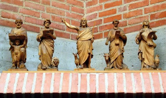 Jesus and the four evangelists;