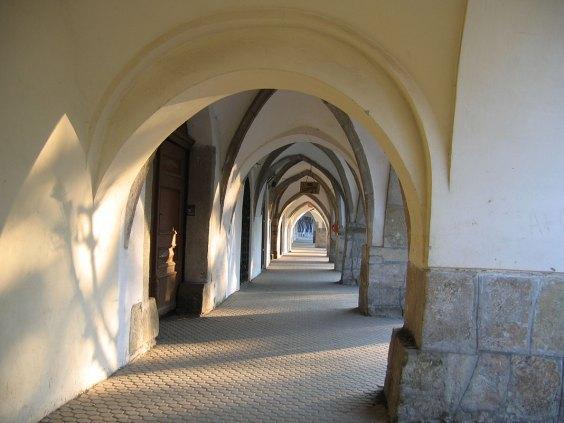 Arcades in the old main square of Bistrita